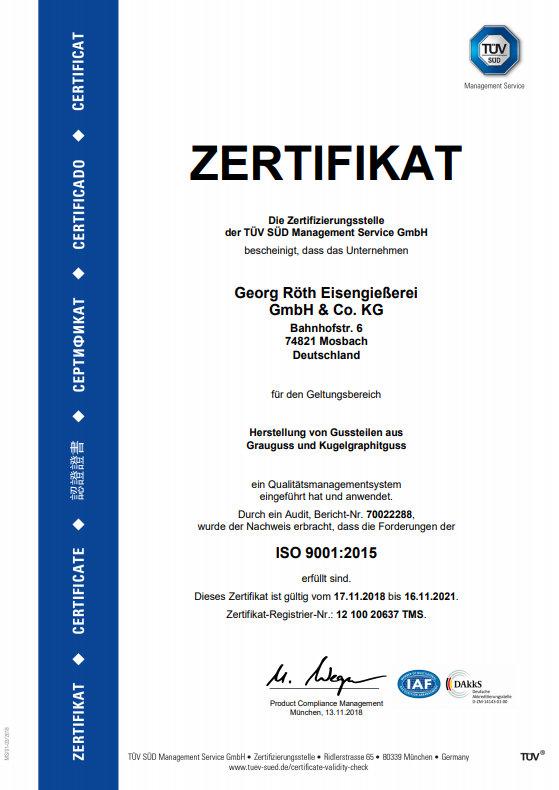 aktuelles TÜV Zertifikat